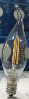 Фото2 SLL E14-C35TA-2W - LED лампа филамент, 2W, тип С35TA, цоколь E14, свеча на ветру