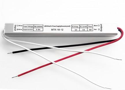 Фото1 PSPS12VDC-1.5A-18W - блок питания серии SLIM, 12V, 1.5A, 18W