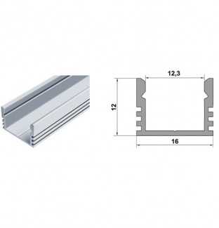 Фото2 Профиль алюминиевый №19 для светодиодных лент накладной 16х12мм (комплект)