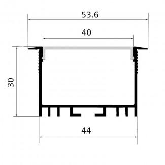 Фото2 Профиль алюминиевый №18 для светодиодных лент встраиваемый 53х30мм (комплект)