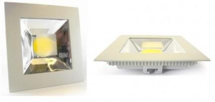 Фото1 454/. Светильник светодиодный потолочный, квадрат врезной, Down Light COB, 10W, 155 мм