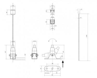Фото2 Комплект тросового подвеса с поворотным цанговым зажимом №77