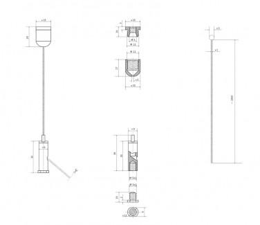 Фото5 Комплект тросового подвеса с цанговым зажимом №88