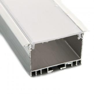 Фото1 Профиль алюминиевый №18 для светодиодных лент встраиваемый 53х30мм (комплект)