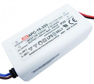Фото1 APC-16-350 - Драйвер светодиода влагозащитный, 220VAC>12-48VDC, 16Вт, 350 mа
