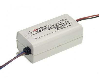 Фото1 APC-16-700 - Драйвер светодиода влагозащитный, 220VAC>9-24VDC, 16Вт, 700 mа, IP30