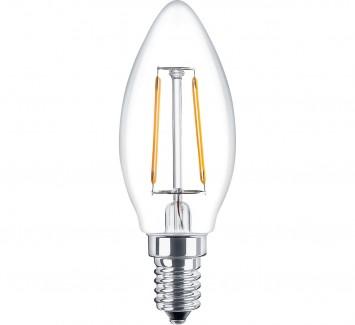 Фото1 SLL E14-C35-2W - LED лампа филамент, 2W, тип С35, цоколь E14, свеча