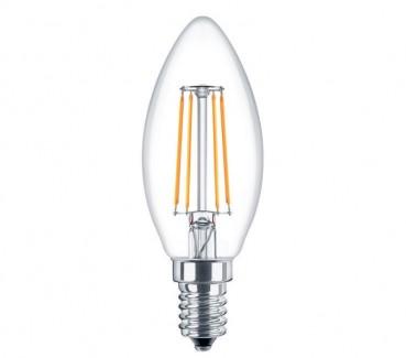 Фото1 SLL E14-C35-4W - LED лампа филамент, 4W, тип С35, цоколь E14, свеча