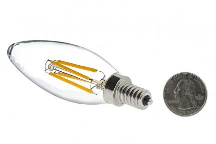 Фото2 SLL E14-C35-4W - LED лампа филамент, 4W, тип С35, цоколь E14, свеча