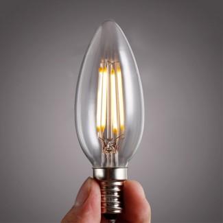 Фото5 SLL E14-C35-4W - LED лампа филамент, 4W, тип С35, цоколь E14, свеча