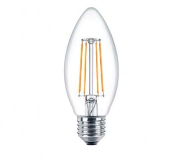 Фото1 SLL E27-C35-4W - LED лампа филамент, 4W, тип С35, цоколь E27, свеча