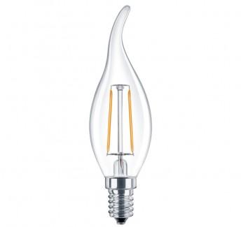 Фото1 SLL E14-C35TA-2W - LED лампа филамент, 2W, тип С35TA, цоколь E14, свеча на ветру