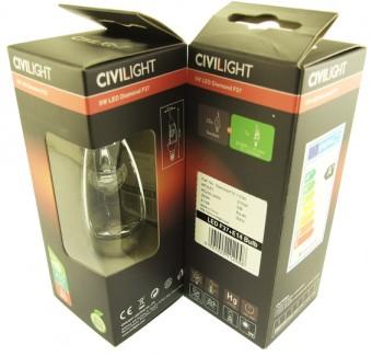 Фото2 CIVILIGHT C37 E14-5W Diamond Silver Wind candle (warm white)