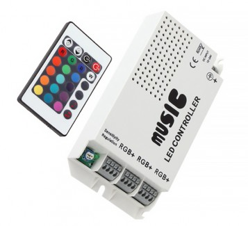 Фото2 LT-CTR19 - RGB контроллер, 9А + Пульт 24 кнопки, (аудио)