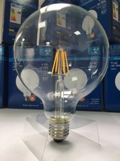 Фото3 SLL E27-G125-6W - LED лампа филамент, 6W, тип G125, цоколь E27, круглая шарообразная