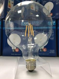 Фото3 SLL E27-G125-4W - LED лампа филамент, 4W, тип G125, цоколь E27, круглая шарообразная