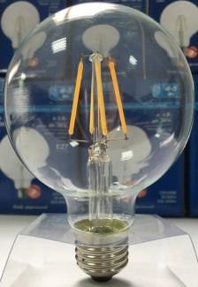 Фото3 SLL E27-G95-8.5W - LED лампа филамент, 8.5W, тип G95, цоколь E27, круглая шарообразная