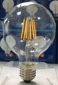 Фото3 SLL E27-G80-6W - LED лампа филамент, 6W, тип G80, цоколь E27, круглая шарообразная