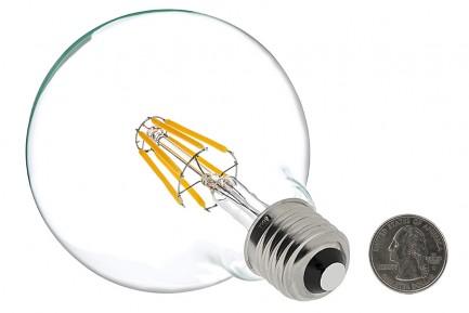 Фото2 SLL E27-G80-6W - LED лампа филамент, 6W, тип G80, цоколь E27, круглая шарообразная