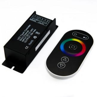Фото1 LT-CTR61 - RGB контроллер, 3 канала, 18А, 12-24V, чёрный сенсорный радио-пульт