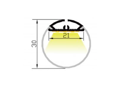 Фото4 LO30301_2 - LED алюминиевый профиль LO30301, d=30мм, 2 м