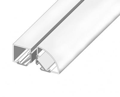 Фото2 LED-профиль ЛСУ для лент угловой, вн.ширина 13,15 мм, размеры 15,3*20,2*2000 мм (стекло-рассеиватель
