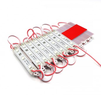 Фото1 МТК-5050-3Led-R-0,72W-12V - LED модуль SMD5050, 12V, 0.72W, красный, IP65