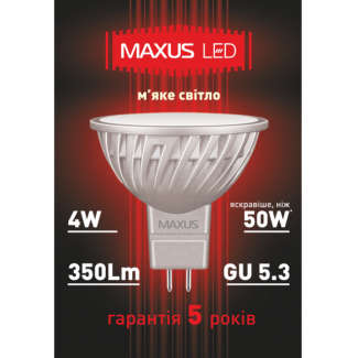 Фото2 LED лампа Maxus MR16-4W-220V 1-LED-328
