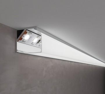 Фото2 ПФ №9 SQUARE - LED профиль угловой 16*16, матовый квадратный рассеиватель