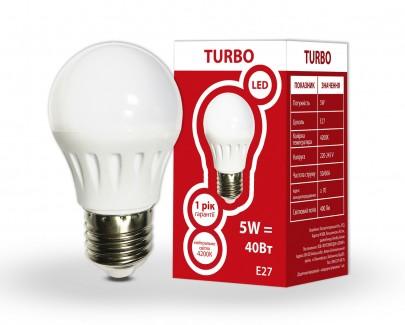 Фото1 Лампа LED G45 5Вт Е27 шар 4200K TURBO