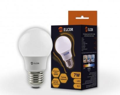 Фото1 Лампа LED А55 7Вт Е27 4200K ELCOR