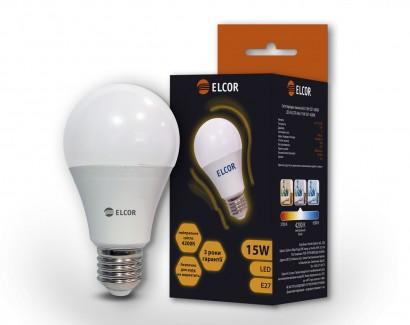 Фото1 Лампа LED А65 15Вт Е27 4200K ELCOR