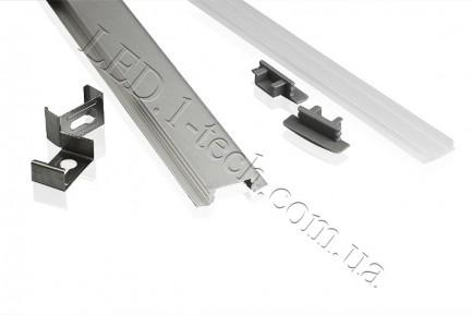 Фото2 Профиль алюминиевый для светодиодных лент №1 с фланцем 25х8.5х1000мм