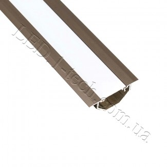 Фото1 Профиль алюминиевый для светодиодных лент №14 с фланцем бронза 50х20мм