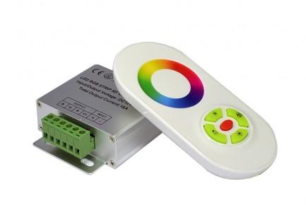 Фото1 LT-CTR55 - RGB контроллер, 3 канала, 18А, 12V, белый сенсорный радио-пульт