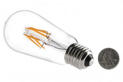 Фото2 SLL E27-ST64-6W - LED лампа филамент, 6W, тип ST64, цоколь E27, вытянутая лампа Эдисона