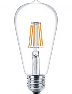 Фото1 SLL E27-ST64-6W - LED лампа филамент, 6W, тип ST64, цоколь E27, вытянутая лампа Эдисона
