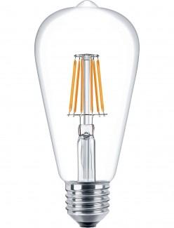 Фото1 SLL E27-ST64-7.5W - LED лампа филамент, 7.5W, тип ST64, цоколь E27, вытянутая лампа Эдисона