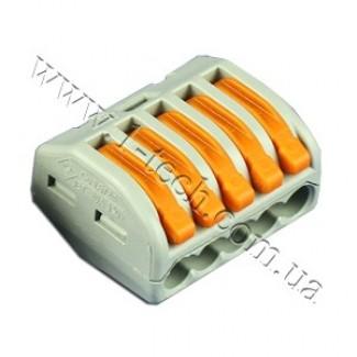 Фото1 WAGO 222-415 - Клемма зажимная 5-проводн. на кабель сечением до 4 мм2
