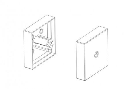 Фото2 ЗСМ - Торцевая пластиковая большая заглушка квадратная для угловых LED профилей ЛСУ, цвет - серый