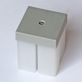 Фото3 ЗСМ - Торцевая пластиковая большая заглушка квадратная для угловых LED профилей ЛСУ, цвет - серый