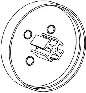 Фото1 ЗСТ - Торцевая пластиковая большая заглушка круглая для угловых LED профилей ЛСУ, цвет - серый